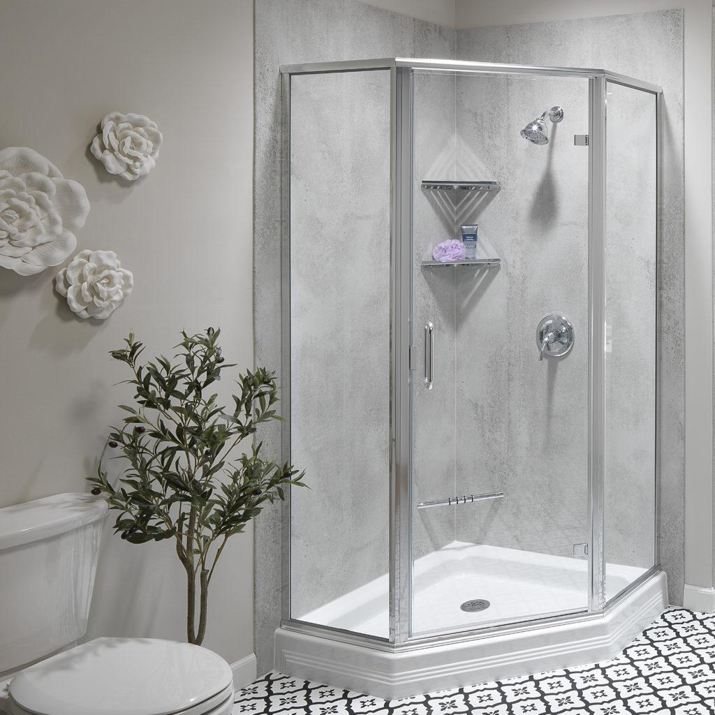 finished modern shower remodel
